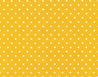 Yellow Polka Dot Fabric - Fabric by the yard