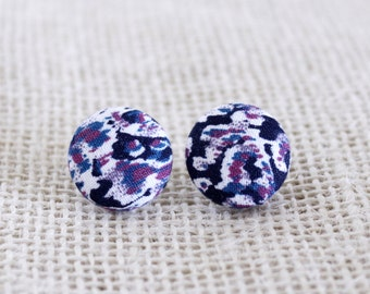 Fabric Button Earrings - Color Ink Blot