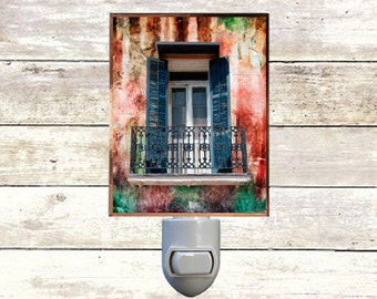 "Night Light, ""Preservation Porch"", New Orleans Icons,  Handmade, Copper Foiled"