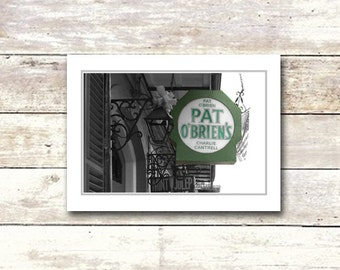 New Orleans art, French Quarter, Pat O Briens, Blank Greeting Cards, Architecture, Fine Art Cards, NOLA
