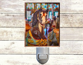 Newborn Night Light - Carousel 3 - New Orleans art -  Handmade - Copper Foiled - Childrens room - Nursery Art - Lighting -