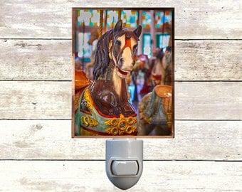 Newborn Night Light - Carousel 3 - New Orleans art -  Handmade - Copper Foiled - Childrens room - Nursery Art - Lighting -
