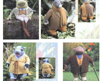 Vintage Knitting Pattern PDF Wind in the Willows Toad Badger Ratty Mole Soft Toy and Sweaters