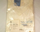 Carol Brent Slip Old Stock New in Package, Size 36 Chest, Lingerie, Banded in Lace, Vycron Polyester, Nylon & Cotton, White, Vintage