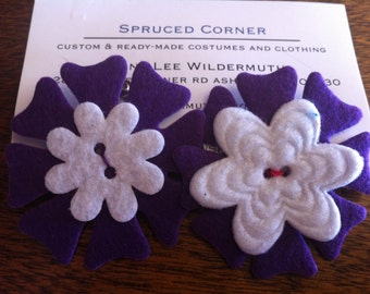 Purple and White floral hair clips