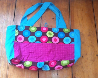 Pink Teal and Brown Dotted Bag