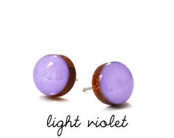 Light Violet Solid Colour Stud Earring · Lilac Stud Earring · Light Purple Stud · Paint + Resin Stud · 3 sizes 8mm, 10mm & 13mm