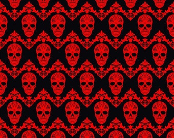 Black and red floral skull pattern craft  vinyl sheet - HTV or Adhesive Vinyl -  Halloween pattern HTV835