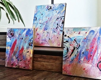 "Original Abstract Painting, Canvas Art,Blue Acrylic Painting, two 8 x 10 canvases and one 9 x 12, Small Art, Wall Decor, ""The Sea"""