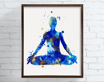 Yoga Wall Art - Yoga Print - Yoga Poster - Yoga Painting - Padmasana - Lotus Position, Yoga Poses, Yoga Studio Decor, Watercolor Art, Blue