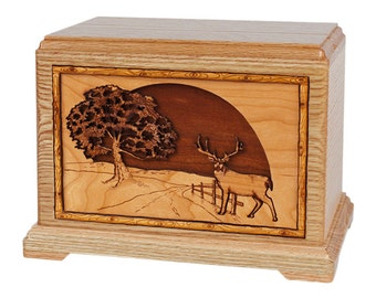 Oak Whitetail Deer on Road Home Hampton Wood Cremation Urn