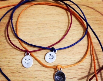Handmade Hemp Friendship Wish Bracelet/Anklet with Silvertone Metal Oval Disc with Stamped Heart .