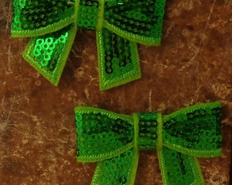 """2 Each 2"""" Lime Green Sequin Bow Embellishment"""