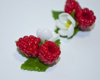 Two berries of raspberry and flower , polymer clay flower, flowers for decor