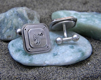 Sterling Silver Cuff Links - Personalized With Initial