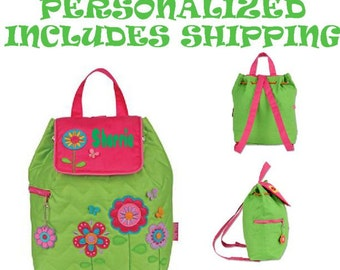 Backpack Stephen Joseph Quilted Flower Toddler Pre School  Backpack Diaper Bag INCLUDES SHIPPING!!!! PERSONALIZED