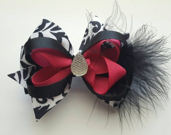 Pink and Black Bow w/Feathers & Diamond In The Center