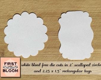 White Scalloped Circle Die Cuts - White Rectangular Bracket Label Die Cuts - Scalloped Circles - Rectangular Bracket Labels - Package Tags