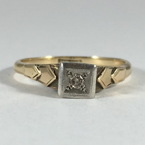 vintage promise ring deco 18k gold and platinum