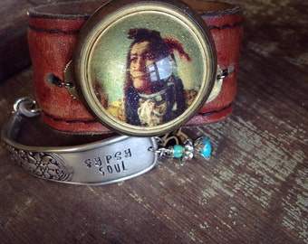 Native American Indian on Leather Cuff Bracelet, Vintage Horse Bridal Rosette, Leather Cuff Bracelet