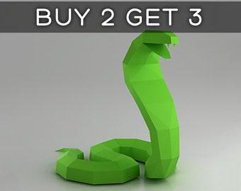 Cobra - snake 3D papercraft model. Downloadable DIY template