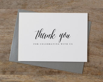 5 x Thank you for celebrating with us - Wedding Thank You Card - Wedding Card, Wedding Thank You Cards, Wedding Guest Thank You, K7