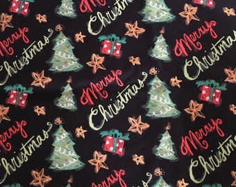 OOP - 2015 Springs Creative - Chalkboard Trees - Cotton Fabric - Christmas Trees - 3/4 yard