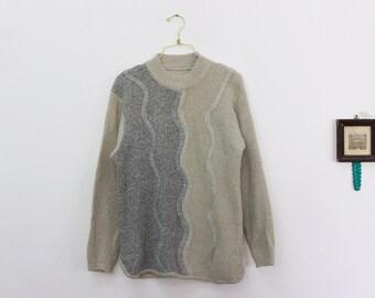 80s geometric sweater/ vintage knit jumper/ women gray sweater size medium