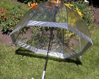 Retro 1990s FULTON Seventies Style Clear See Through Dome Umbrella