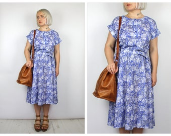 Vintage 1980's Blue and White Floral Midi Dress 14 16 18 20