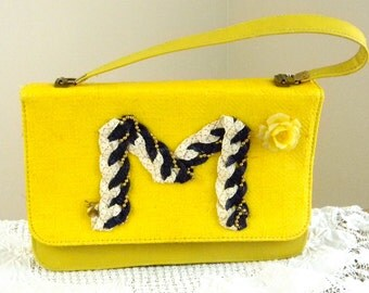 University of Michigan Purse Bag Initialed Purse letter M Purse one if a kind bag upcycled materials recycled jewelry statement