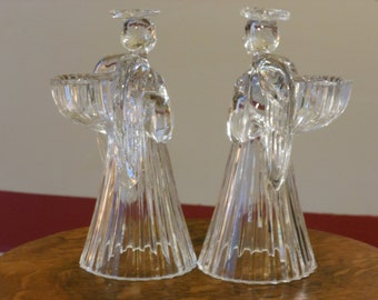 Two Clear Lead Crystal Angel Candle Holders