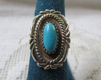 Vintage Navajo style  Native American Indian sterling turquoise ring size 6 1/2 signed