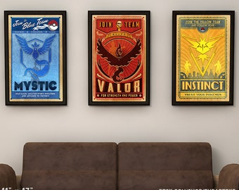 """11""""x17"""" Pokemon Go // Blue Red Yellow  Team Collection // Vintage Style Posters"""