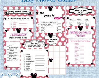 Minnie Mouse Baby Shower Games Package Seven Printable Games Bingo,Purse Points, Price is Right, Finish Mommy's Phrase, Pregnancy How Sweet