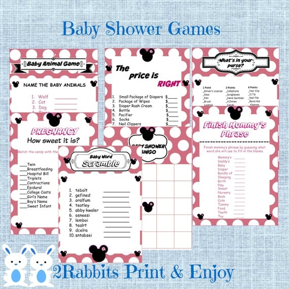 minnie mouse baby shower games package seven printable games bingo