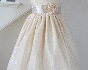 Champagne Beige Flower Girl Dress, Available in Various Colors