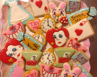 30 Alice in Wonderland Iced Cookies.