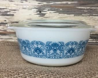 Vintage Pyrex Blue Horizon Casserole with Lid 472