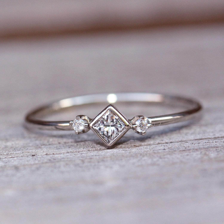 14k Square Diamond Ring Diamond Shape Ring Daint Engagement Ring