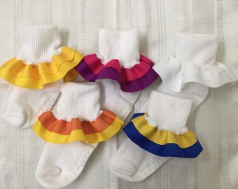 Custom color double  ruffled socks