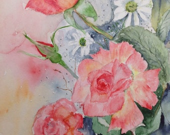 original watercolour painting of Roses