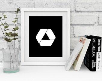 Impossible triangle wall art, penrose triangle, modern digital print, scandinavian decoration, printable digital art, triangle wall decor
