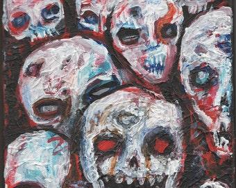 very textured original painting, 8x10 , zombie horde art