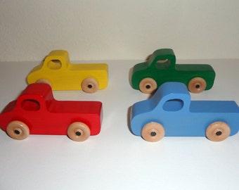 Handmade wooden Pick-up truck -Set of 4