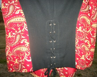 Red Black & Yellow STEAMYPUNK EDWARDIAN Paisley LACEUP Vest, the Back is Laceup. Sm to Med, As- is in lining