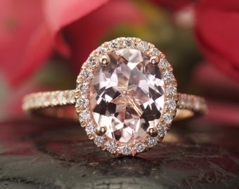 2.50ct Oval Cut Morganite Engagement Ring in 14k Rose Gold, 0.40ctw Diamond Halo and Band, 1.5mm Band, Wedding Band will Sit Flush, Maria