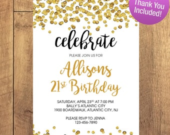 Adult Birthday Party 21 Birthday Invitation FREE THANK YOU Included