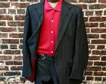Black Pin Stripe Suit with Red Lining. 1970s Gangster, Disco Suit. Two Piece Men's Black Suit, Size 42, Size Small.