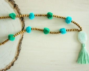 Pom Pom Necklace - Tassel Necklace - Agate Necklace